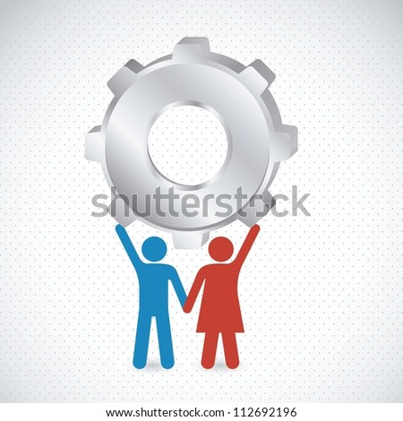 Couple holding a big gear, marriage, vector illustration - stock vector