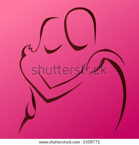 Couple Holding Each Other - stock vector