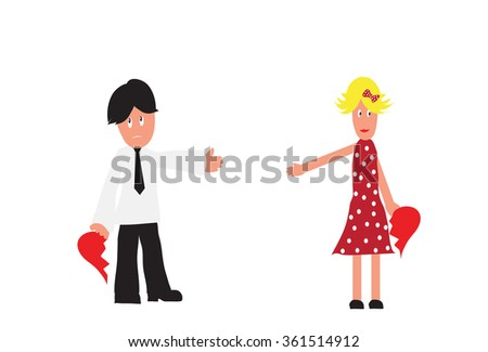 Couple holding half of the hearth symbol as concept for breaking up. Vector illustration. Isolated on white background - stock vector