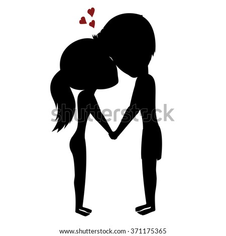 couple holding hands silhouette of a happy couple with hearts