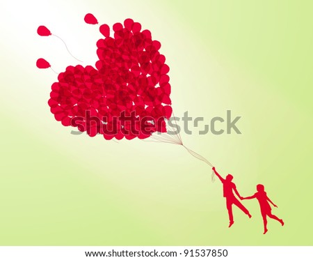 couple holding heart shape balloon - stock vector