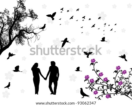 Couple in a park with flowers and birds. Vector illustration - stock vector