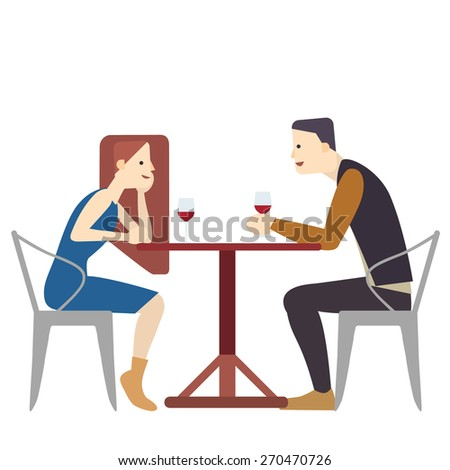 Couple in cafe drinking wine vector illustration,isolate on white background - stock vector