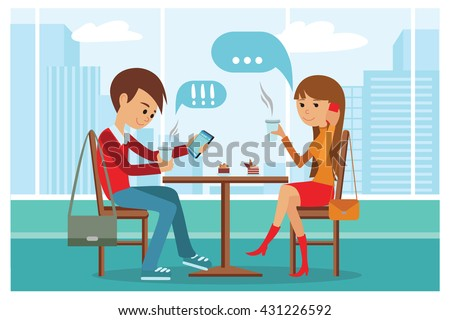 Couple in cafe - Vector Illustration with city landscape on window. People sitting at table at lunch talk by phone and use smartphone drinking coffee. - stock vector