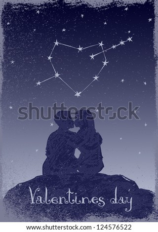 Couple in love and heart-shaped constellation. Illustration of Valentine's Day - stock vector