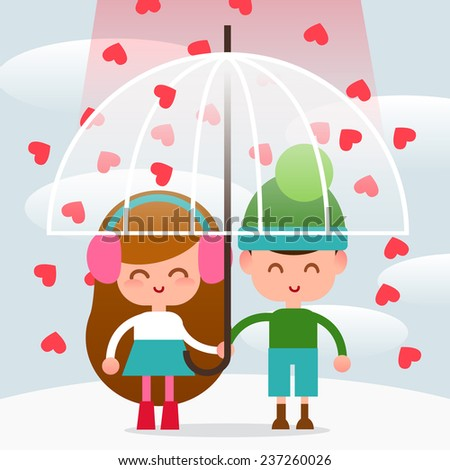 Couple in love boy and a girl under an umbrella. Rain of hearts. Illustration of Valentine's Day. Illustration in style of flat. - stock vector