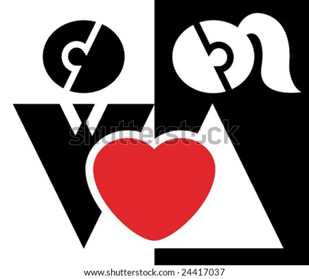 Couple in love, family and wedding sign - stock vector