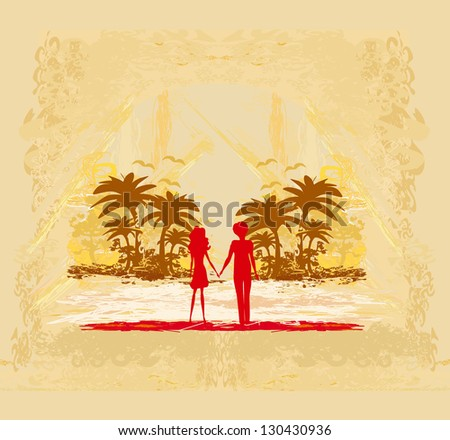 Couple in love looking at the sunset - stock vector
