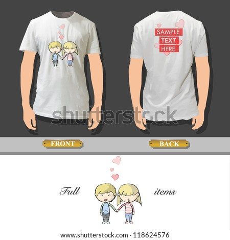 Couple in love printed on a shirt. Vector design. - stock vector