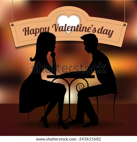 Couple in love sharing romantic dinner on romantic background with signboard. Vector silhouette. St. Valentine's day postcard. - stock vector
