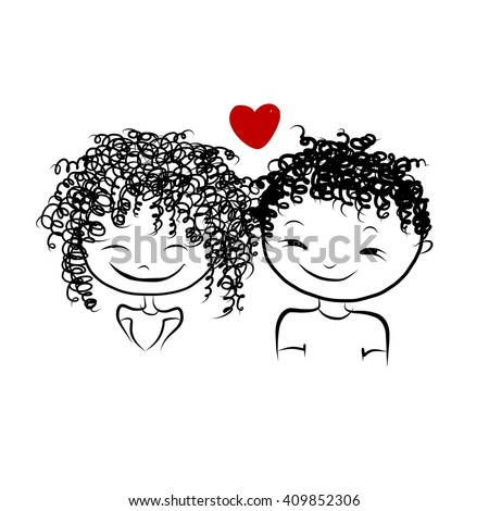 Couple in love together, valentine sketch for your design, vector illustration