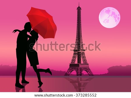 Couple in love under red umbrella. in Paris. With the Eiffel Tower and moon on background. Vector illustration - stock vector