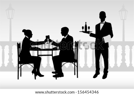 couple in restaurant holding glasses and waiter serving them - stock vector