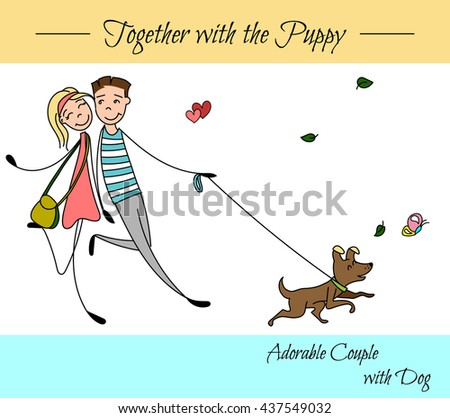 couple in the sketch style. Couples do for a walk with their dog. Boyfriend with girlfriend in love. hand drawn Vector illustration - stock vector