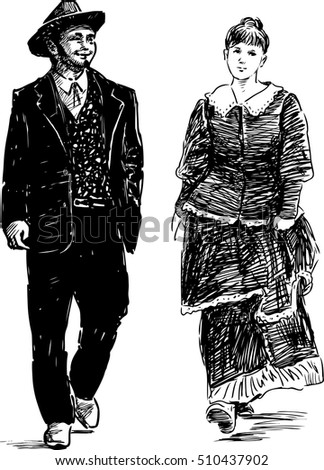 couple in the vintage costumes