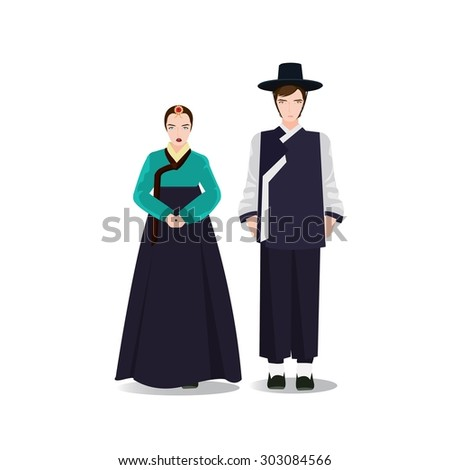 Couple in traditional korean dresses. Hanbok. Vector illustration