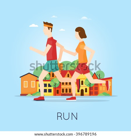 Couple jogging on the background of the city, sport, healthy lifestyle, jogging, fitness. Flat design vector illustration. - stock vector