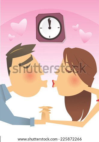 Couple kissing at 12 o clock cartoon illustration - stock vector