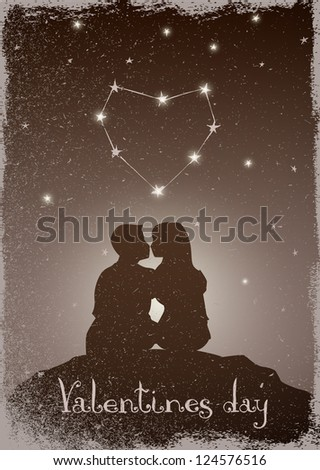 Couple kissing under the stars and constellations of love - stock vector