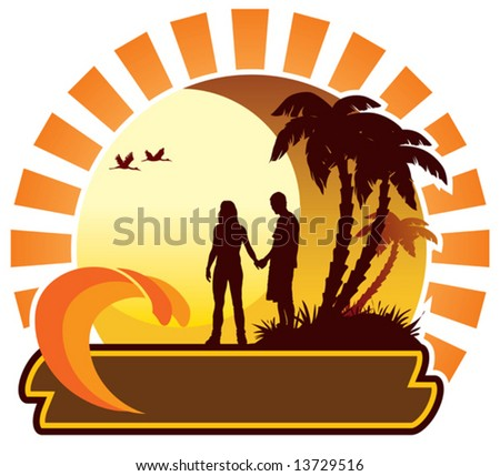 Couple looking at the sunset, summer icon - stock vector
