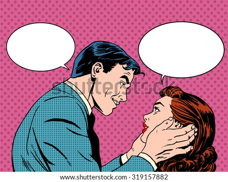 Couple love dialogue. Man and woman talking. Communication, emotions, family psychology. Retro pop art - stock vector