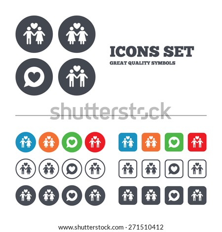 Couple love icon. Lesbian and Gay lovers signs. Romantic homosexual relationships. Speech bubble with heart symbol. Web buttons set. Circles and squares templates. Vector