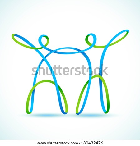Couple made with swirly figures holding hands - stock vector