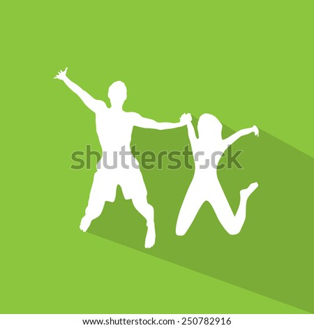 Couple man and woman holding hands jump silhouette, flat design with shadow vector illustration - stock vector