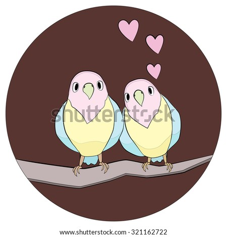 Couple of birds on the branch - stock vector