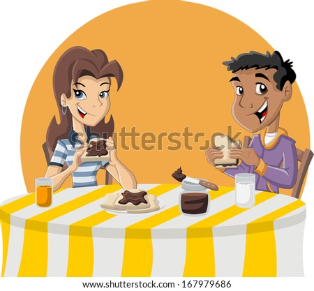 Couple of cartoon teenagers eating toast with chocolate nut paste for breakfast - stock vector