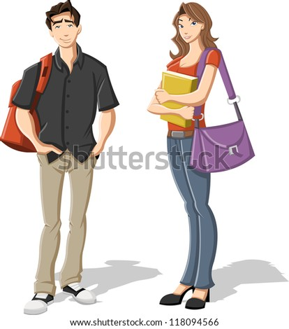 Couple of cartoon young students. Teenagers. - stock vector