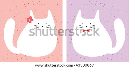 couple of cat greeting card - stock vector