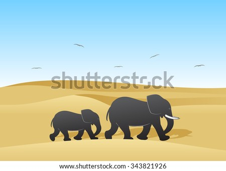 Couple of elephants in the desert against dunes and the blue sky - stock vector