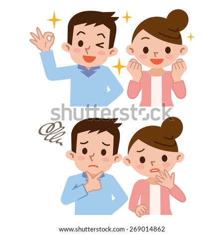 Couple of facial expressions rejoice with troubled expression - stock vector