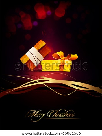 Couple of Gifts | Present | Elegant Vertical Christmas Card | EPS10 Vector Background | Separated on Layers Named Accordingly - stock vector