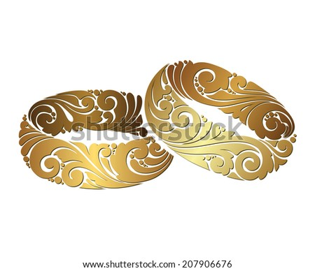 Couple of gold wedding ornamental rings on white background. Decorative icon - stock vector