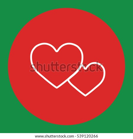 couple of hearts love romantic line white icon in red circle