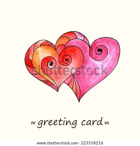 Couple of Hearts. Romantic card with paint hearts. Love decoration. Valentine card.