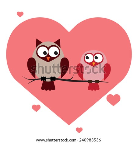 Couple of Love Owl for Valentines day and Anniversary. Vector illustration EPS10. - stock vector