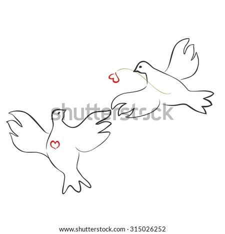 Couple of loving doves - stock vector