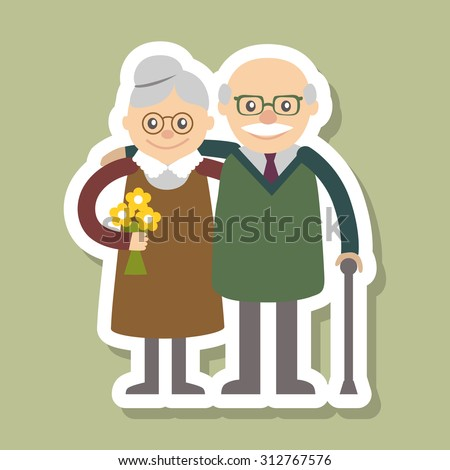 Couple of older people. Grandmother and grandfather. Vector illustration for greeting isolated on white background. Flat style. - stock vector