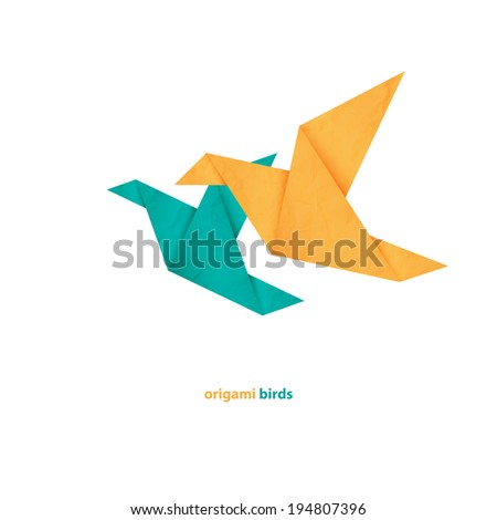 couple of origami birds icons isolated on white background - stock vector