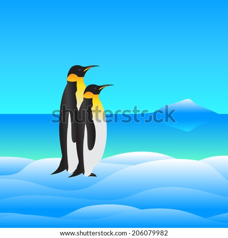 Couple of penguins against water, snow  - stock vector