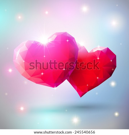 Couple of shiny heart gems for Valentines Day - stock vector