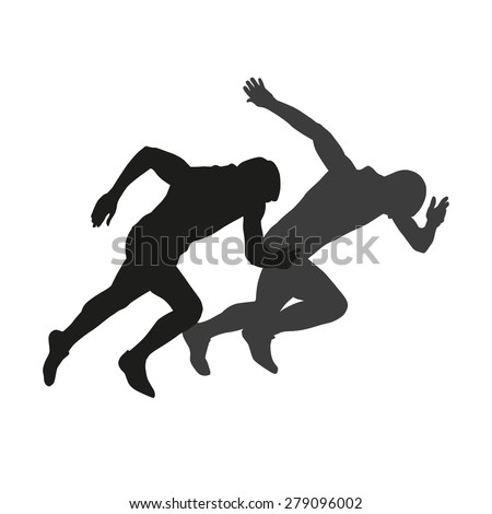 Couple of starting runners. Vector silhouettes