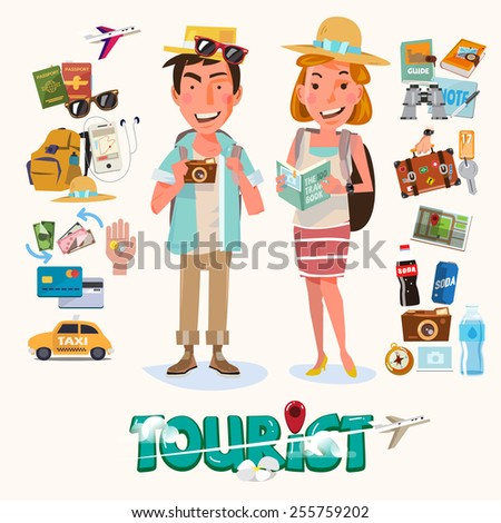 couple of tourist with gadget for travel. character design - vector illustration