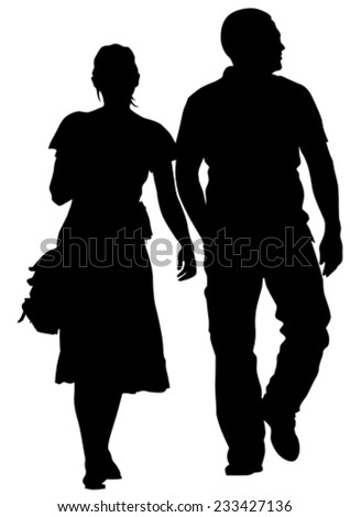 Couple of young guy and girl on white background - stock vector