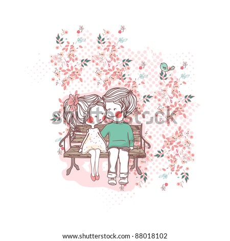 couple on a bench - stock vector