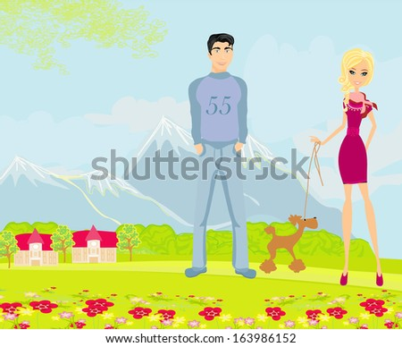 couple on a walk with the dog - stock vector