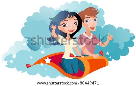 Couple on Flying Carpet - stock vector